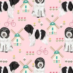 schapendoe dutch shepherd fabric - windmills, tulips, dog fabric - pink
