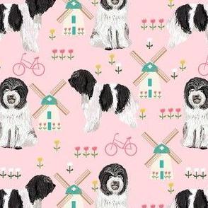 schapendoe dutch shepherd fabric - windmills, tulips, dog fabric - pink