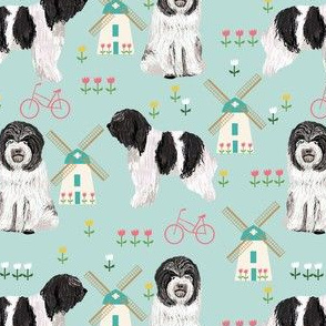 schapendoe dutch shepherd fabric - windmills, tulips, dog fabric - light blue