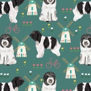 schapendoe dutch shepherd fabric - windmills, tulips, dog fabric - teal