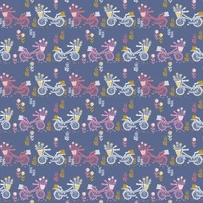 SMALL - bicycle fabric // bicycle florals linocut design andrea lauren fabric - blue and pink