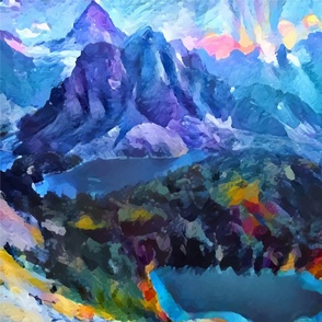 Abstract Landscape - Mountains and lakes