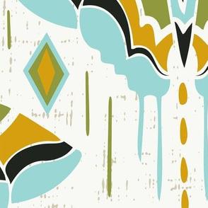 La maison des papillons - Retro Butterflies Jumbo Scale Mustard Yellow Green Blue