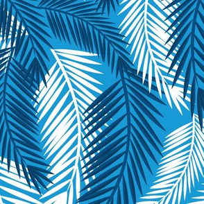 Palm Fronds-Blue-Large