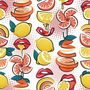Small scale // Pop art citrus addiction // white background red lips yellow and orange lemons and citrus fruits
