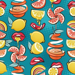 Small scale // Pop art citrus addiction // teal background red lips yellow and orange lemons and citrus fruits