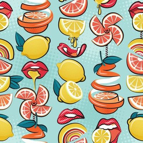 Small scale // Pop art citrus addiction // aqua background red lips yellow and orange lemons and citrus fruits