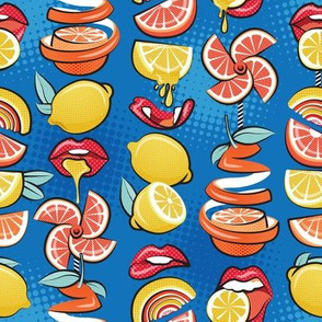 Small scale // Pop art citrus addiction // denim blue background red lips yellow and orange lemons and citrus fruits