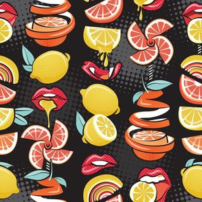 Small scale // Pop art citrus addiction // black background red lips yellow and orange lemons and citrus fruits