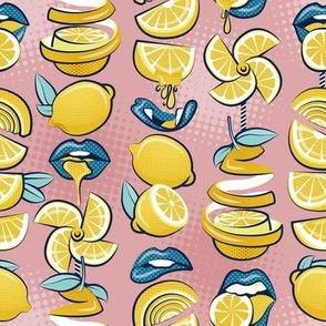 Small scale // Pop art citrus addiction // blush pink background blue lips yellow lemons and citrus fruits