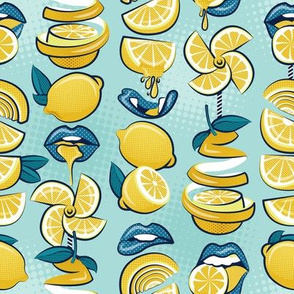 Small scale // Pop art citrus addiction // aqua background blue lips yellow lemons and citrus fruits