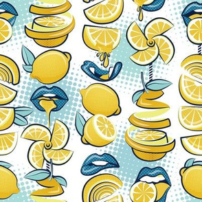 Small scale // Pop art citrus addiction // white background blue lips yellow lemons and citrus fruits