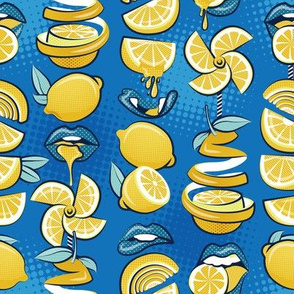 Small scale // Pop art citrus addiction // denim blue background blue lips yellow lemons and citrus fruits