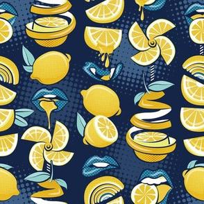 Small scale // Pop art citrus addiction // navy blue background blue lips yellow lemons and citrus fruits