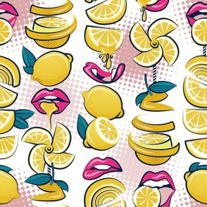 Small scale // Pop art citrus addiction // white background fuchsia pink lips yellow lemons and citrus fruits