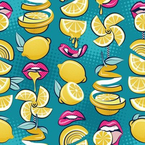 Small scale // Pop art citrus addiction // teal background fuchsia pink lips yellow lemons and citrus fruits