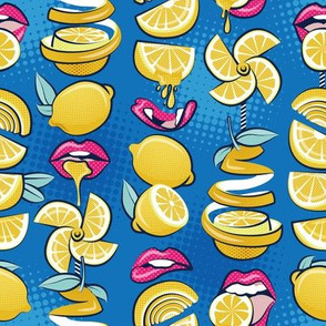 Small scale // Pop art citrus addiction // denim blue background fuchsia pink lips yellow lemons and citrus fruits