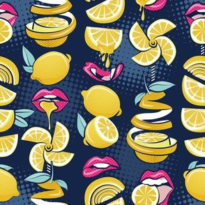 Small scale // Pop art citrus addiction // navy blue background fuchsia pink lips yellow lemons and citrus fruits