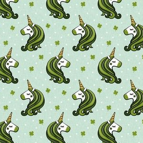 "(1.5"" scale) St Patricks Unicorn - st patty's day unicorns - dark green on mint - LAD19BS"