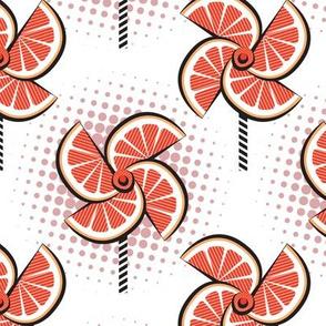 Normal scale // Pop art orange fan blowers // white background orange fruits