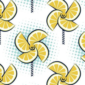 Normal scale // Pop art lemon fan blowers // white background yellow fruits