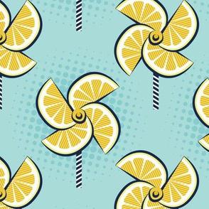 Normal scale // Pop art lemon fan blowers // aqua background yellow fruits