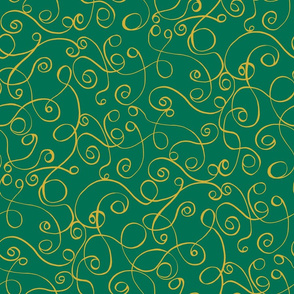 Gold Scrolls on Green