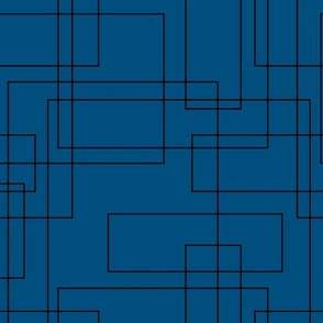 Mid century golden art deco style minimal geometric gold strokes and lines winter classic blue color of the year 2020