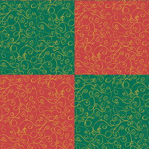 Gold Scrolls on a Red and Green Checked Background