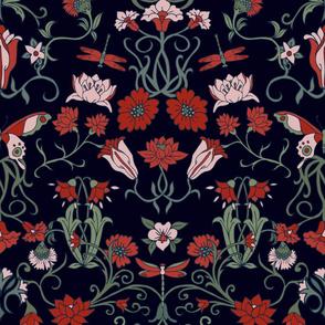 Art nouveau wallpaper - black