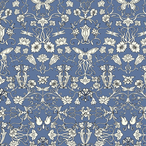 Art nouveau wallpaper - blue and white