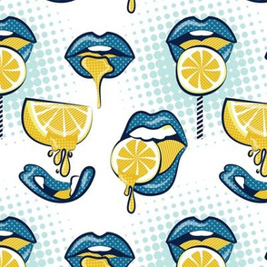 Small scale // Pop art juicy mouths // white background blue lips yellow lemon fruits