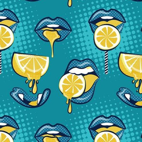 Small scale // Pop art juicy mouths // teal background blue lips yellow lemon fruits