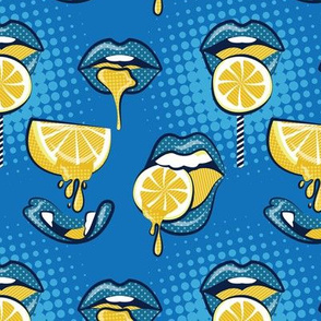 Small scale // Pop art juicy mouths // denim blue background blue lips yellow lemon fruits