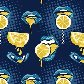 Small scale // Pop art juicy mouths // navy blue background blue lips yellow lemon fruits