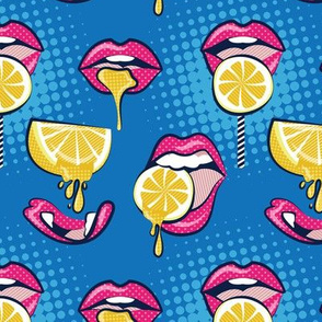 Small scale // Pop art juicy mouths // denim blue background fuchsia pink lips yellow lemon fruits