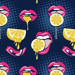 Small scale // Pop art juicy mouths // navy blue background fuchsia pink lips yellow lemon fruits