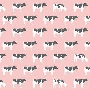 (small scale) cows on pink - farm fabric C19BS