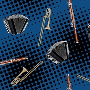 let's start a band! classic blue pantone colour of the year 2020 - accordion, bassoon and trombone toss