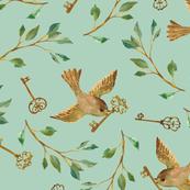 Birds and Keys {Celadon} - large