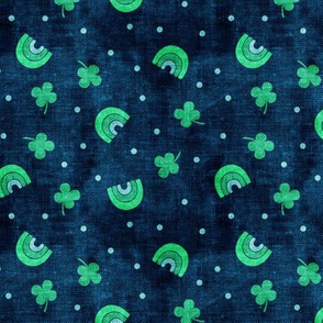 Rainbows and clovers - St Pattys Day - Lucky Rainbows - bright green on navy - LAD19