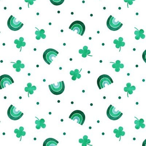 Rainbows and clovers - St Pattys Day - Lucky Rainbows - bright  green - LAD19