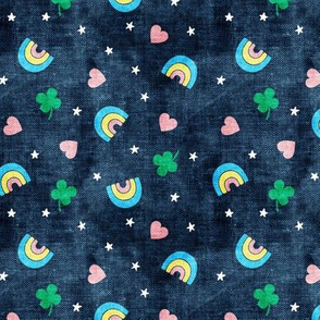 Rainbows and clovers - St Pattys Day - Lucky Rainbows - navy - LAD19