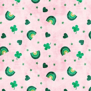 Rainbows and clovers - St Pattys Day - Lucky Rainbows - pink and green - LAD19