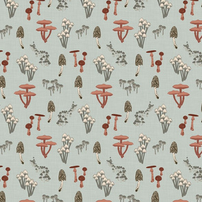 Shrooms Pink - Extra Small - Pool - Linen Texture