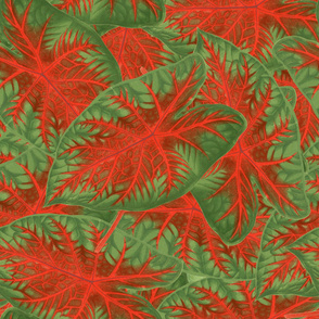 GREEN AND RED LEAF PATTERN