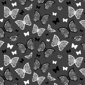 Butterfly Migration... #1 greyscale, B/W, charcoal grey, large