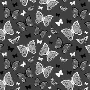 Butterfly Migration... #2 greyscale, B/W, charcoal grey, large