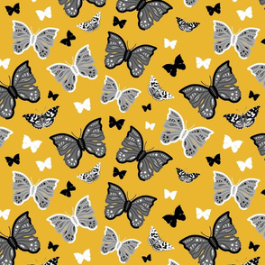 Butterfly Migration... #1 greyscale, B/W, mustard yellow, large