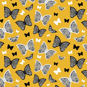 Butterfly Migration... #2 greyscale, B/W, mustard yellow, large